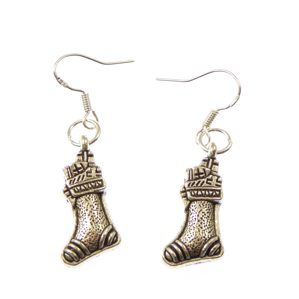 Christmas stocking dangly drop earrings sterling silver wire