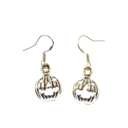 Pumpkin halloween quirky metal dangly earrings sterling silver hooks