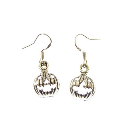 Pumpkin halloween quirky metal dangly earrings sterling silver hooks