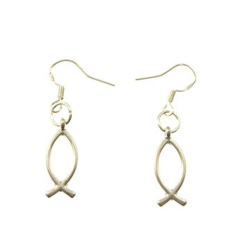 Jesus fish symbol earrings - sterling silver hooks