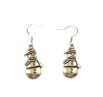 Christmas snowman dangly drop earrings sterling silver wire