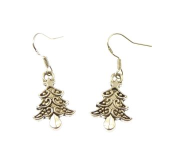 Christmas trees dangly drop earrings sterling silver wire