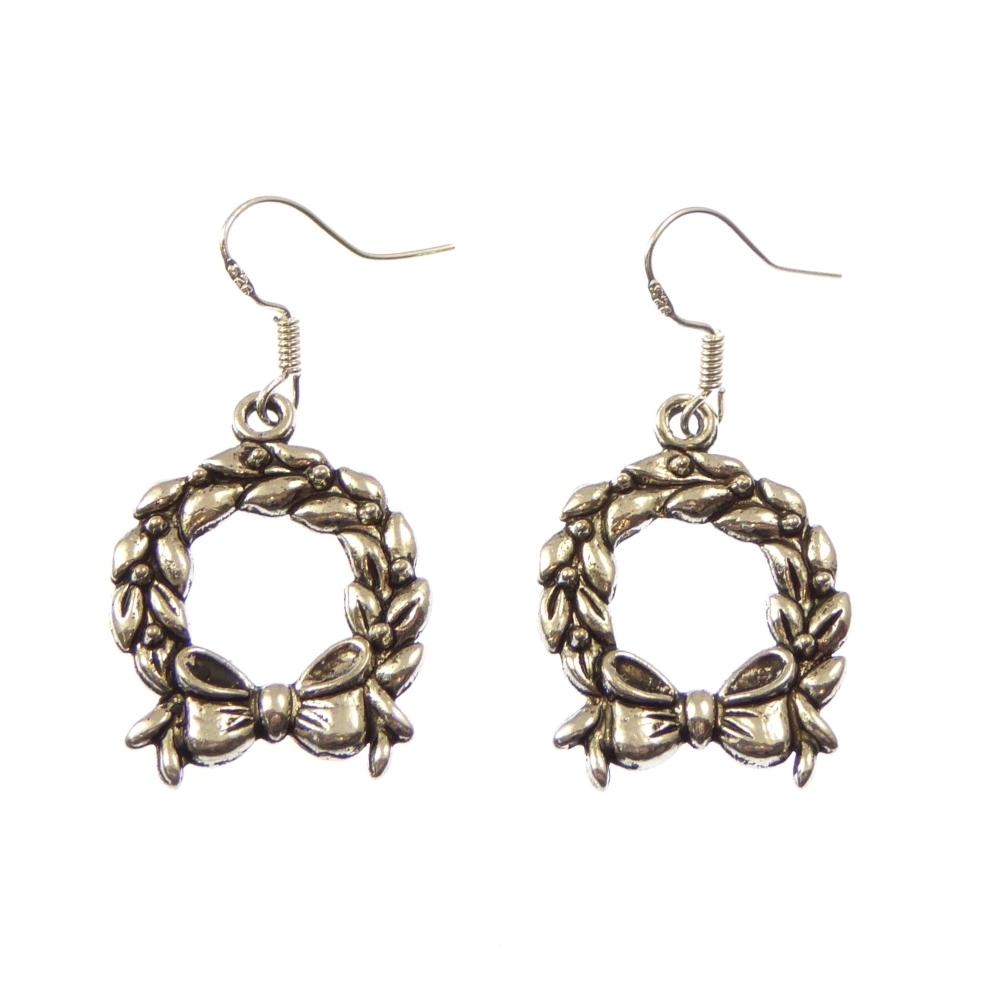 Christmas 2.5cm wreath dangly drop earrings sterling silver hooks
