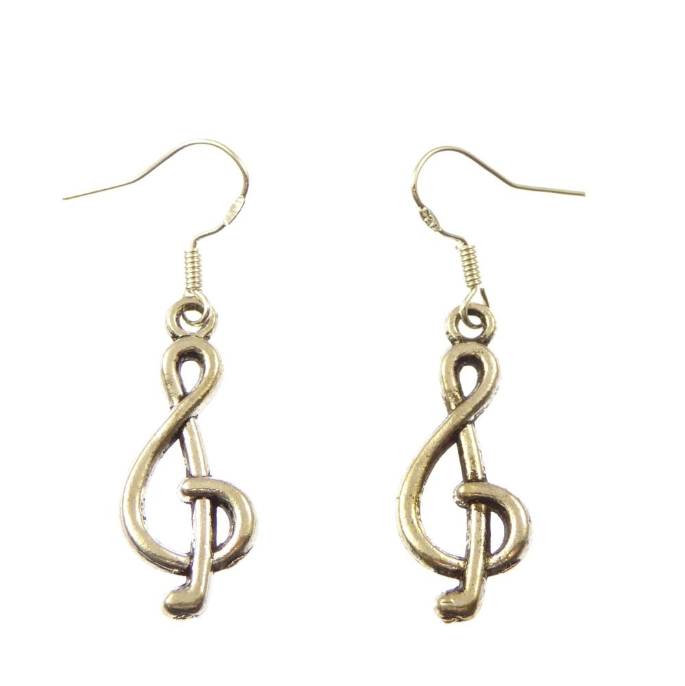 Music note earrings, dangly earrings - sterling silver hooks