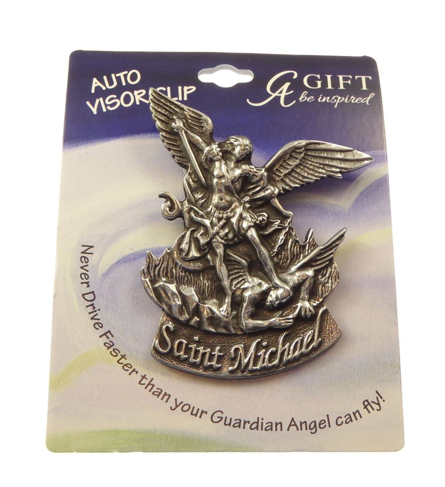 Christian Auto car visor clip St. Michael pewter 7cm