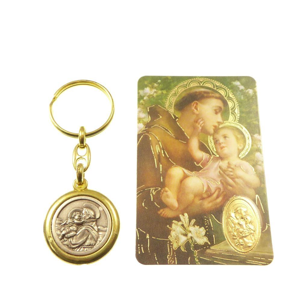 Brass colour metal St. Anthony keyring 8cm Christian gift