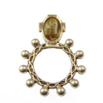 Silver colour metal Catholic Lourdes rosary ring