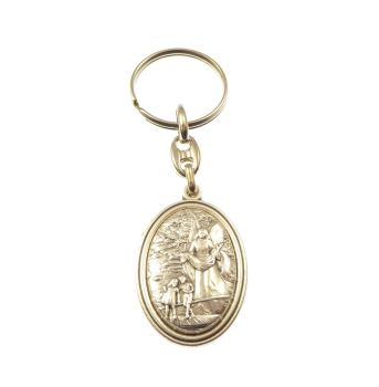 Silver metal guardian angel keyring medal