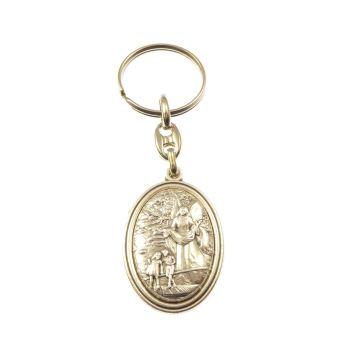 Silver metal guardian angel keyring medal