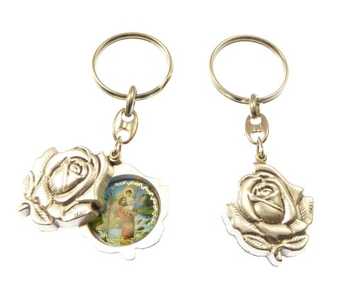 Silver rose slider St. Christopher keyring gift 8cm