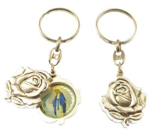 Silver rose slider Miraculous Mary keyring gift 8cm