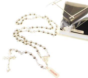 Gift boxed genuine sterling silver rosary beads 18g