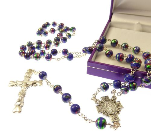 Gift boxed metallic blue rosary beads