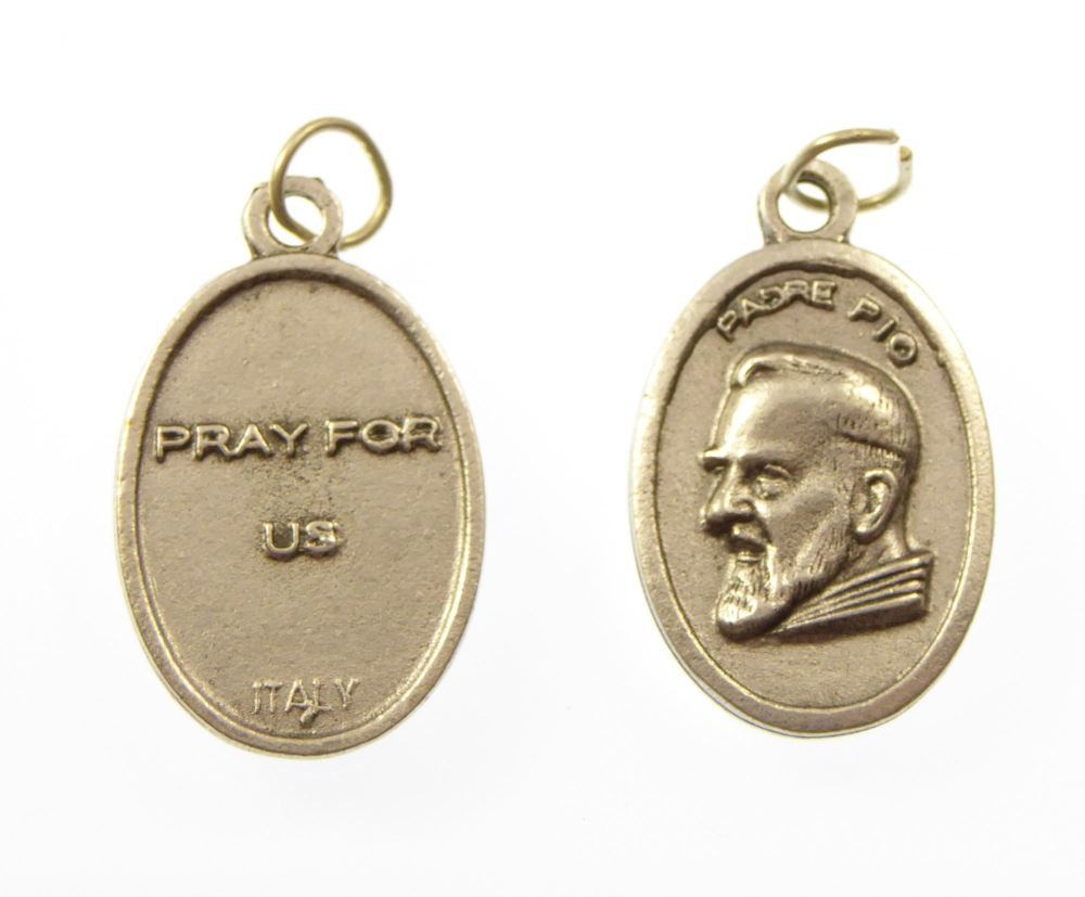 Silver metal St. Padre Pio image medal