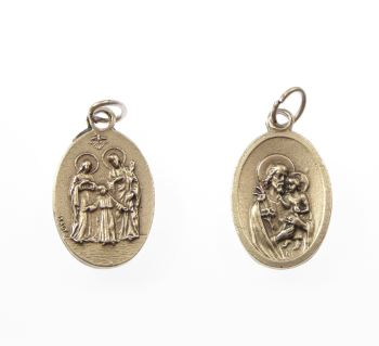 Silver metal Holy Family and St. Joseph medal pendant
