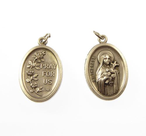 Rosary medal - St. Therese - silver metal