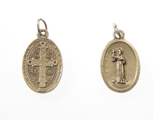 Silver metal Saint Benedict medal pendant