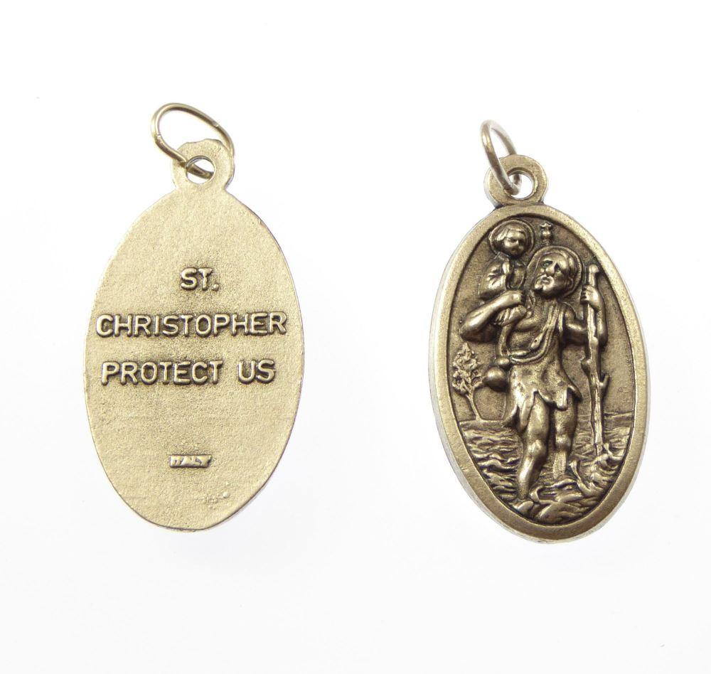 Large 3.5cm St. Christopher silver medal