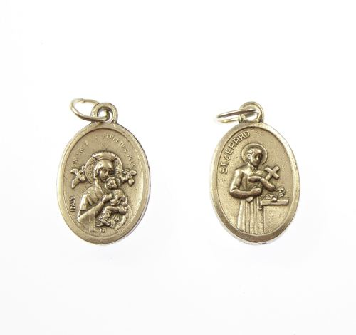 Silver metal medal with St. Gerard image pendant