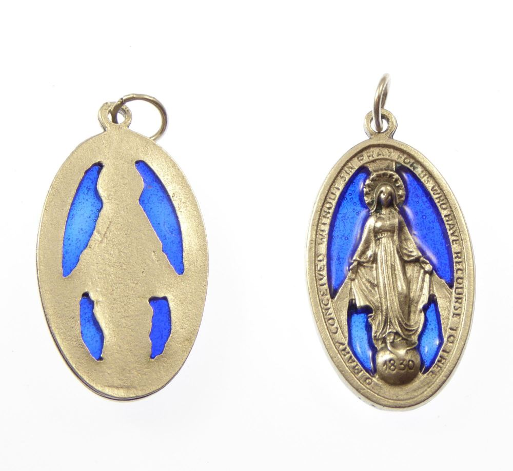 Catholic silver metal Virgin Mary Miraculous medal blue stained glass medal