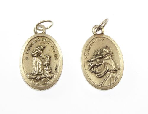 Silver metal St. Anthony St. Francis medal pendant