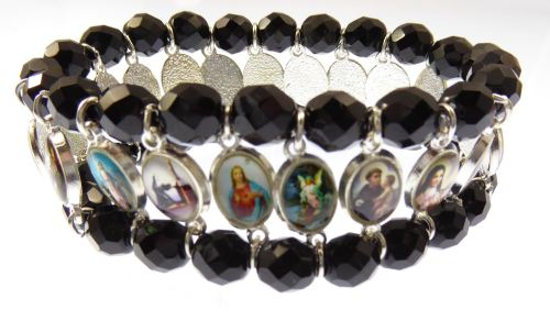 Black faceted glass religious medals catholic stretch bracelet