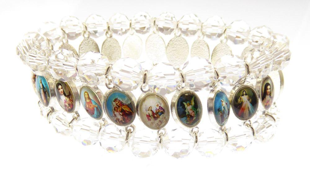 Saints medals clear glass religious icon medals bracelet