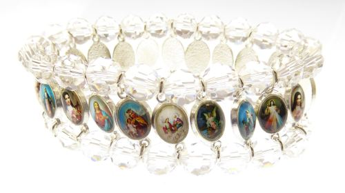Saints medals clear glass religious icon medals bracelet