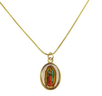 Gold metal Our Lady of Guadalupe medal necklace - 17inch