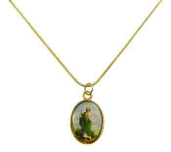Gold metal St. Jude medal necklace - 17 inch