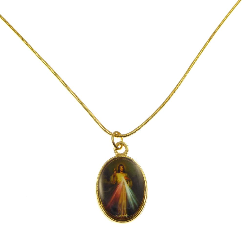 Gold Metal Divine Mercy medal necklace