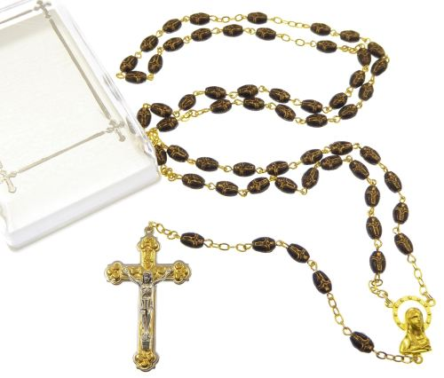 Gift boxed black glass rosary beads with gold chain