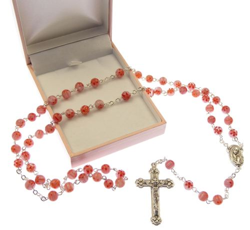 Floral pink unique Catholic rosary beads in gift box