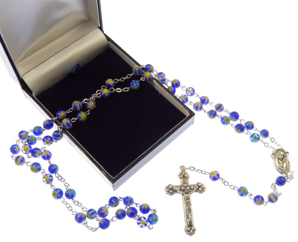 Blue and yellow floral glass Catholic rosary beads in gift box