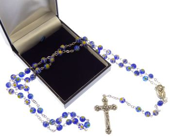 Blue and white floral glass Catholic rosary beads in gift box