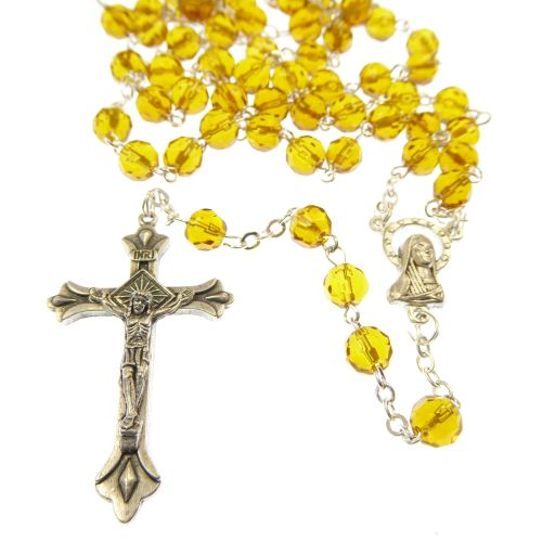 Glass faceted birthstone rosary beads November topaz colour