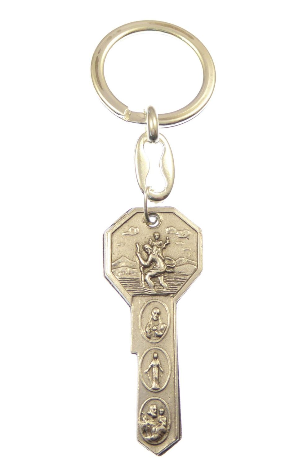 Keyring with Catholic images in key shape and silver metal