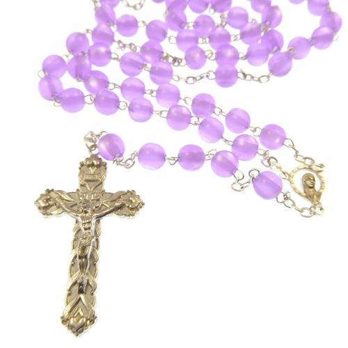Purple lilac pearly finish round 8mm long rosary beads in gift box
