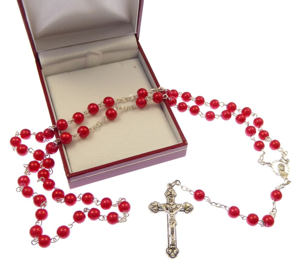 Red metal strong rosary beads in gift box