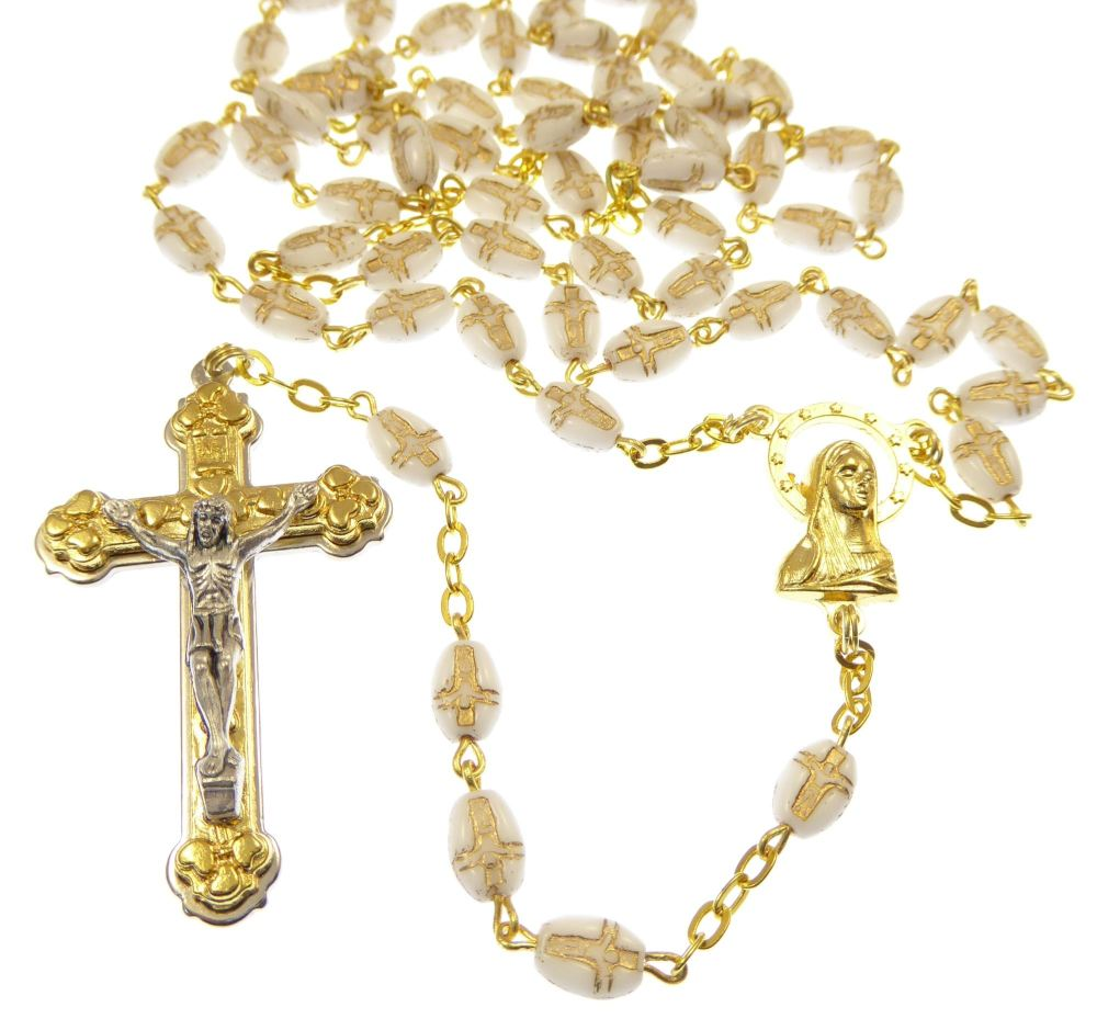 Gift boxed white glass rosary beads with gold chain