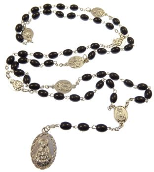 Black glass oval Seven Sorrows medal Mary rosary beads