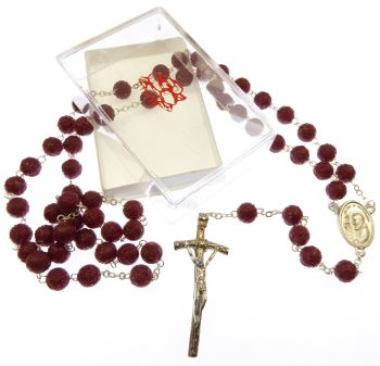 Red plastic perfumed rose flower Padre Pio rosary beads