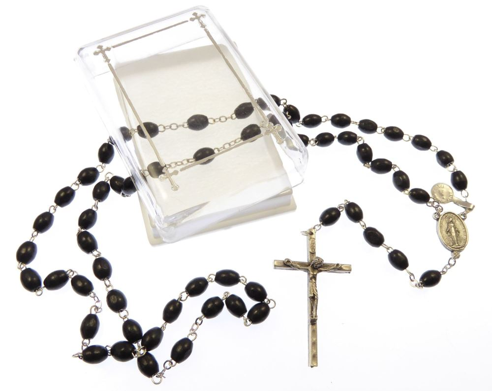 Extra strong black wood rosary beads necklace in gift box