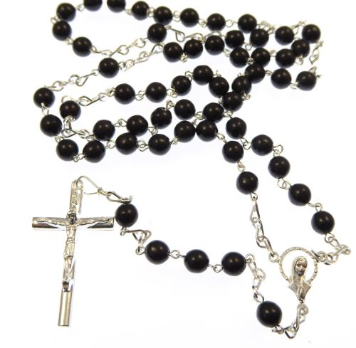 Large rosary beads necklace in 6mm black glass
