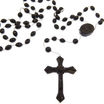 Black plastic rosary beads necklace