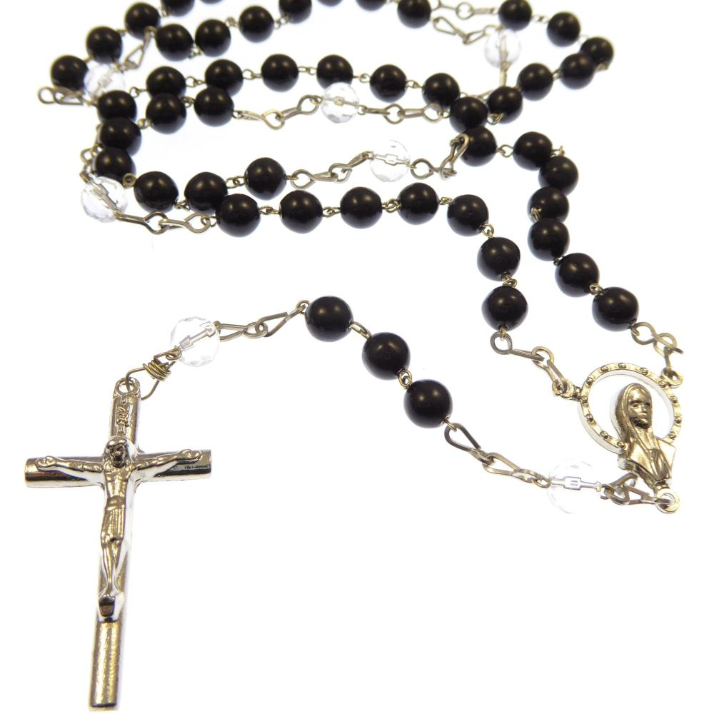 Seven Sorrows rosary beads - black glass and silver plated