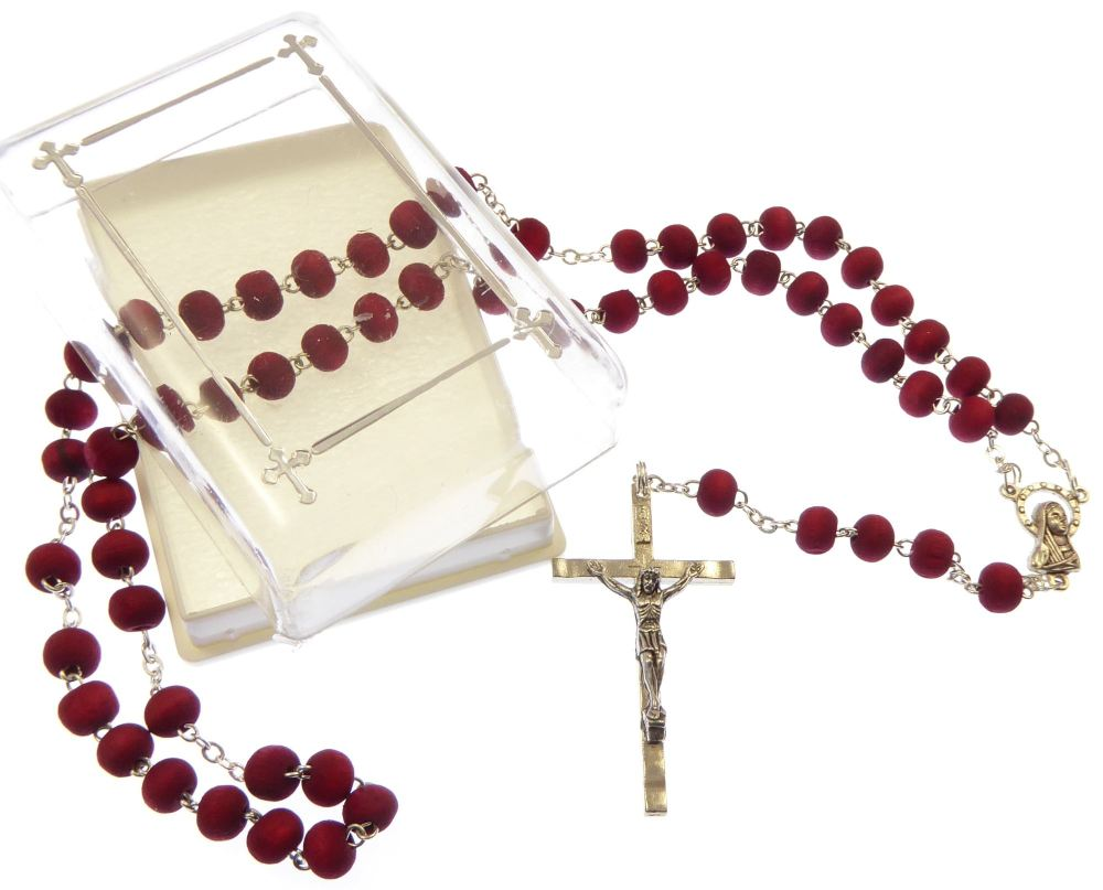 Rose scented red wood rosary beads necklace in box