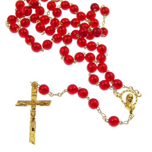 Red glass rosary beads - 6mm - gold chain