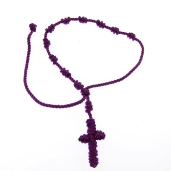 Knotted rope cord rosary bracelet - purple