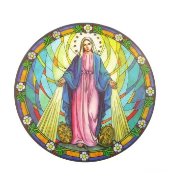 Miraculous Virgin Mary suncatcher stained glass window sticker reusable 6 inch